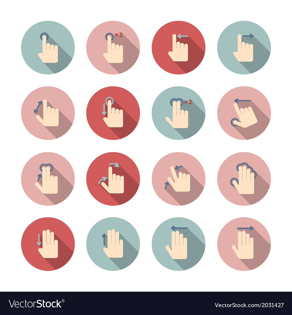 Hand touch gestures icons set vector | Price: 1 Credit (USD $1)