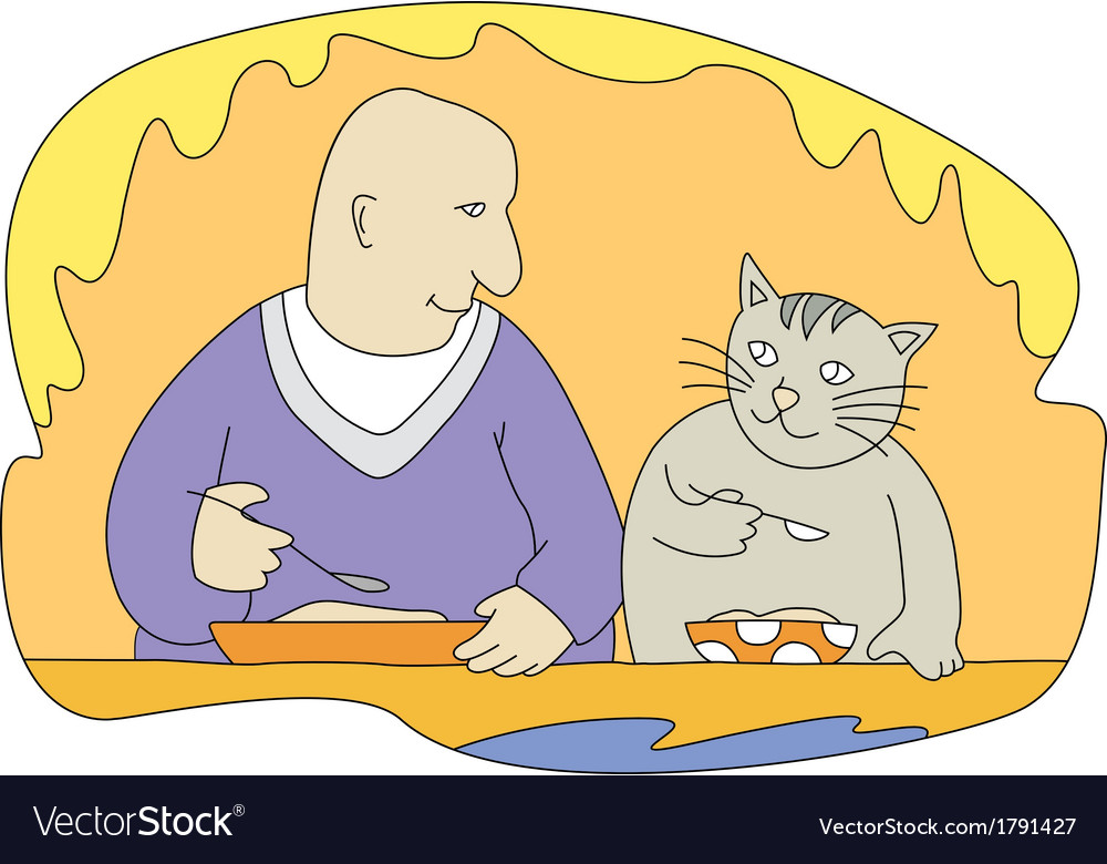 Man and cat vector | Price: 1 Credit (USD $1)