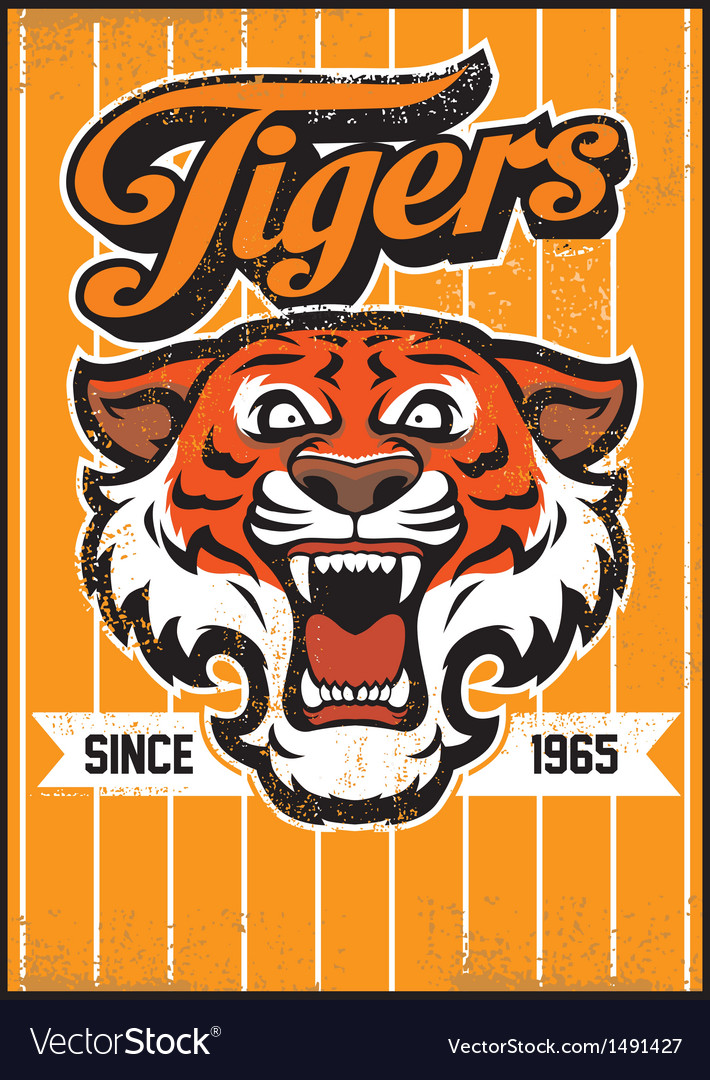Retro tiger mascot design vector | Price: 1 Credit (USD $1)