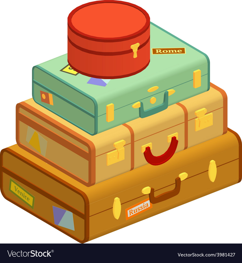 Retro travel suitcases vector | Price: 1 Credit (USD $1)