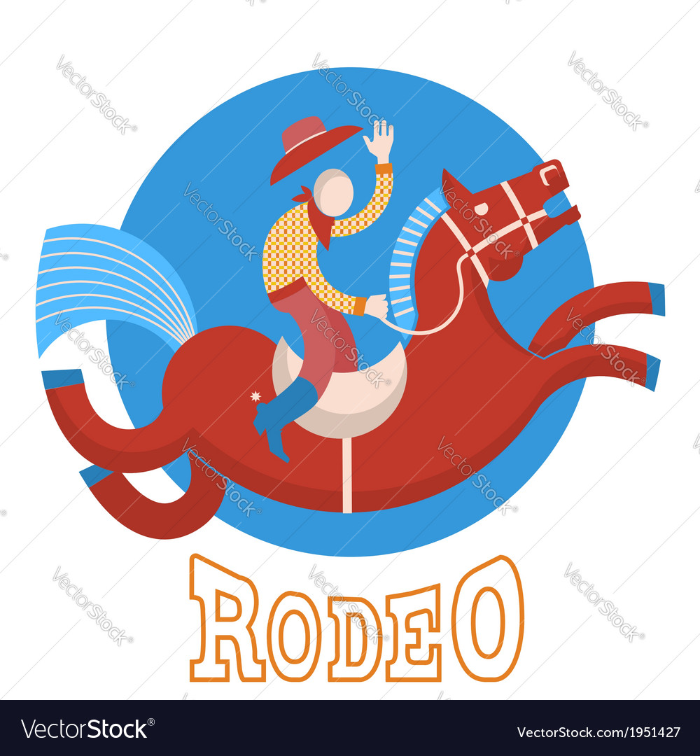 Rodeocowboy on horse vector | Price: 1 Credit (USD $1)