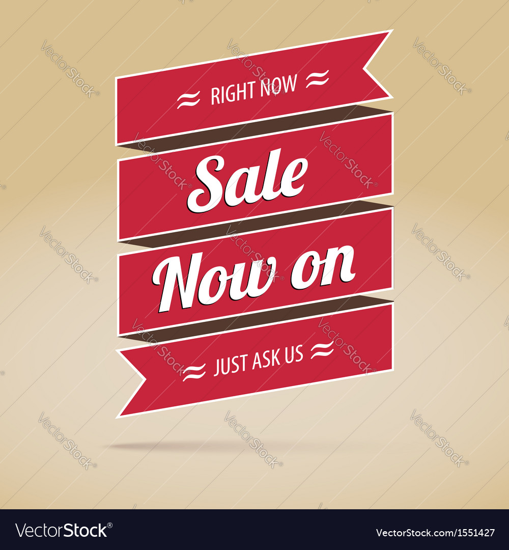 Sale now on inscription on the ribbon poster vector | Price: 1 Credit (USD $1)