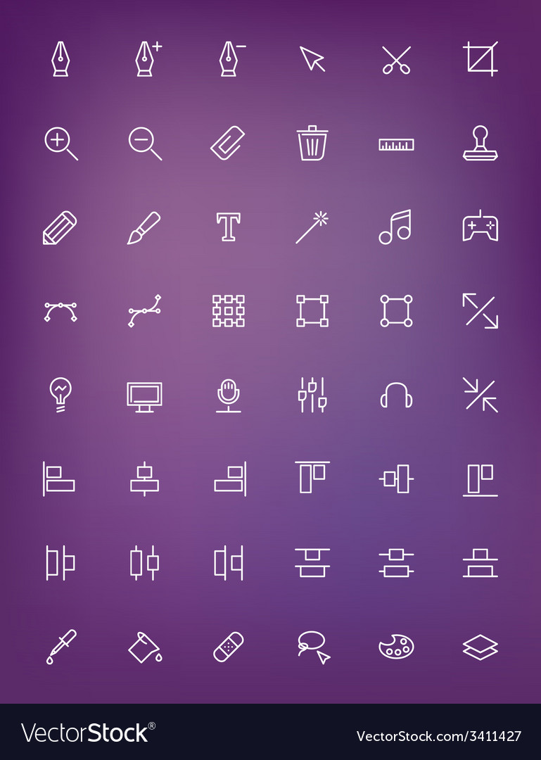 Thin line design tools icons set for web and vector | Price: 1 Credit (USD $1)