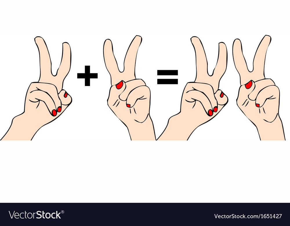 Two plus two equals four vector | Price: 1 Credit (USD $1)