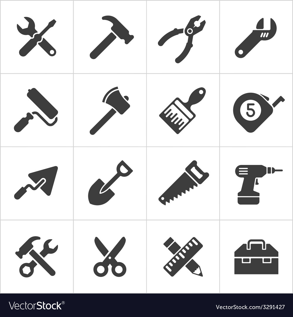 Working tool and instrument icons white vector | Price: 1 Credit (USD $1)