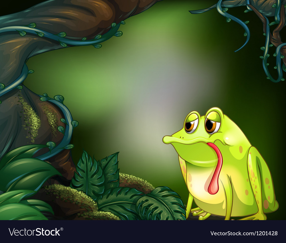 A hungry frog in the rainforest vector | Price: 1 Credit (USD $1)