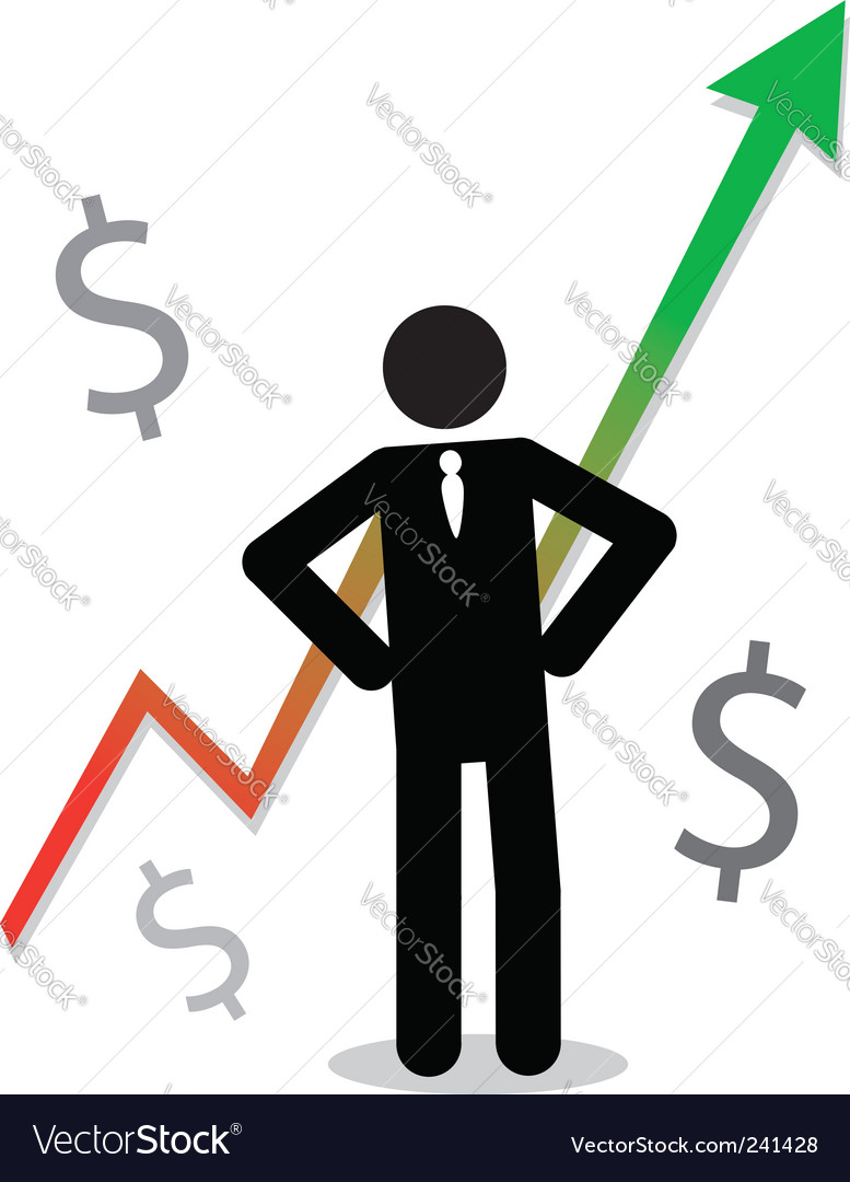 Business man with profit graph vector | Price: 1 Credit (USD $1)