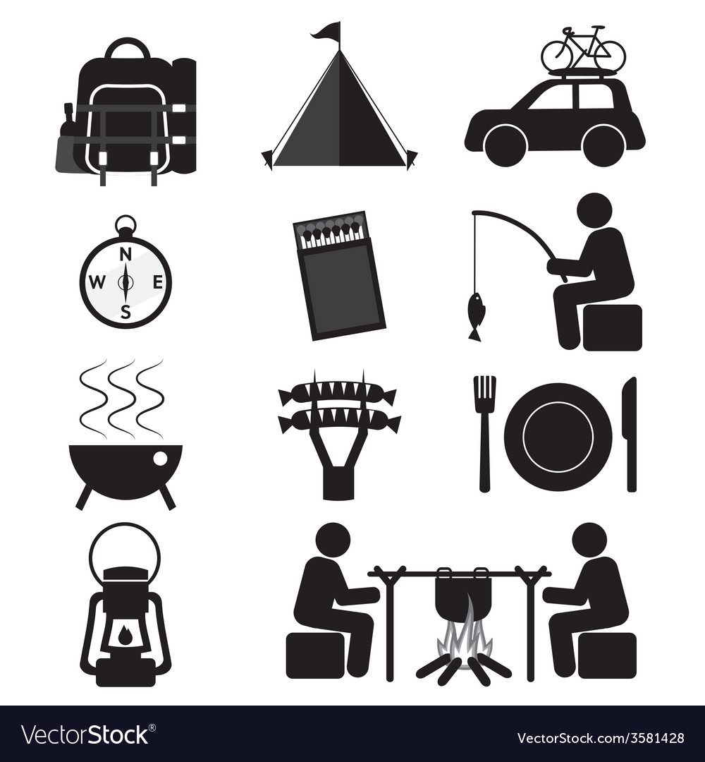 Camping and outdoor activity icon set vector | Price: 1 Credit (USD $1)