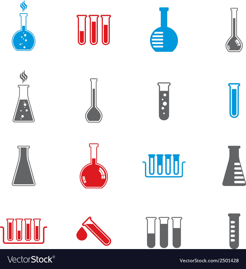 Chemical and medical flask icons set vector | Price: 1 Credit (USD $1)