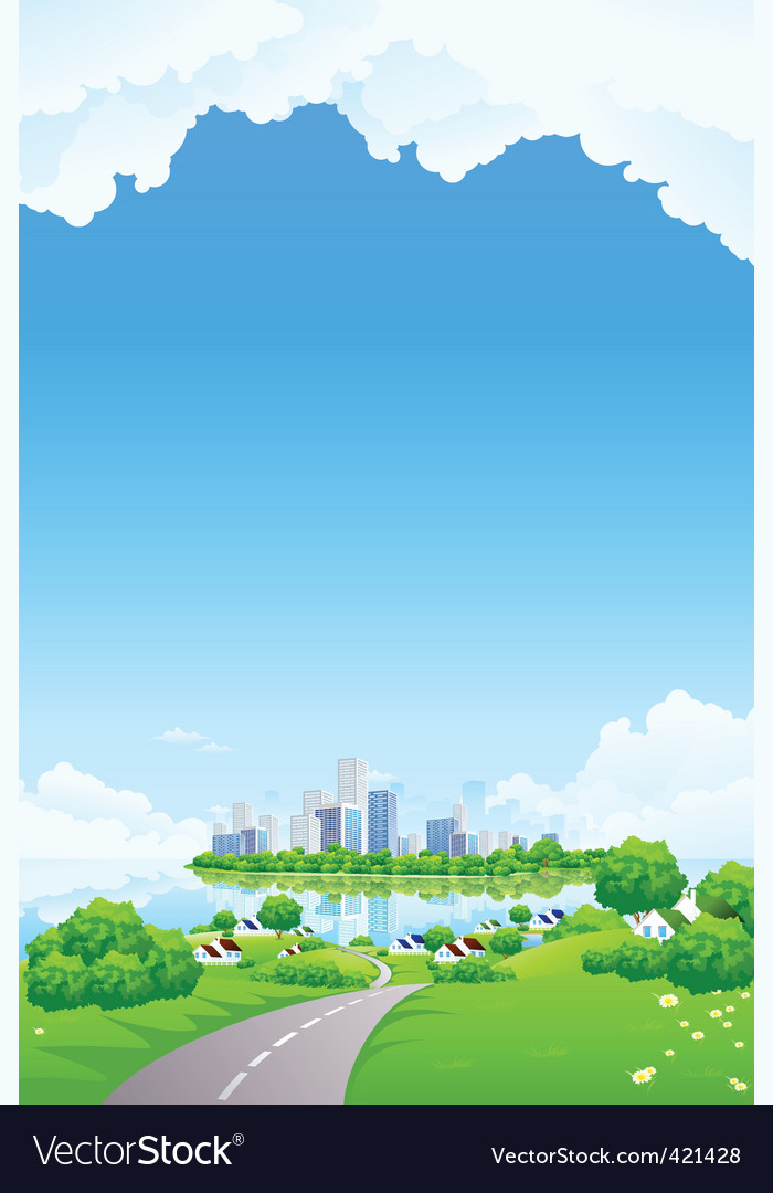 Green landscape with business island vector | Price: 3 Credit (USD $3)