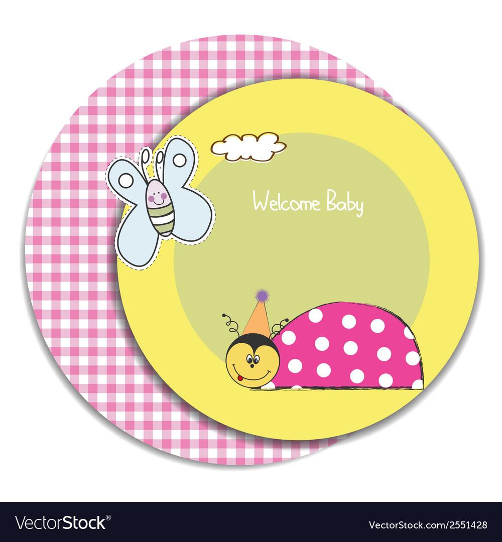 Happy birthday card with ladybug vector   Price: 1 Credit (USD $1)