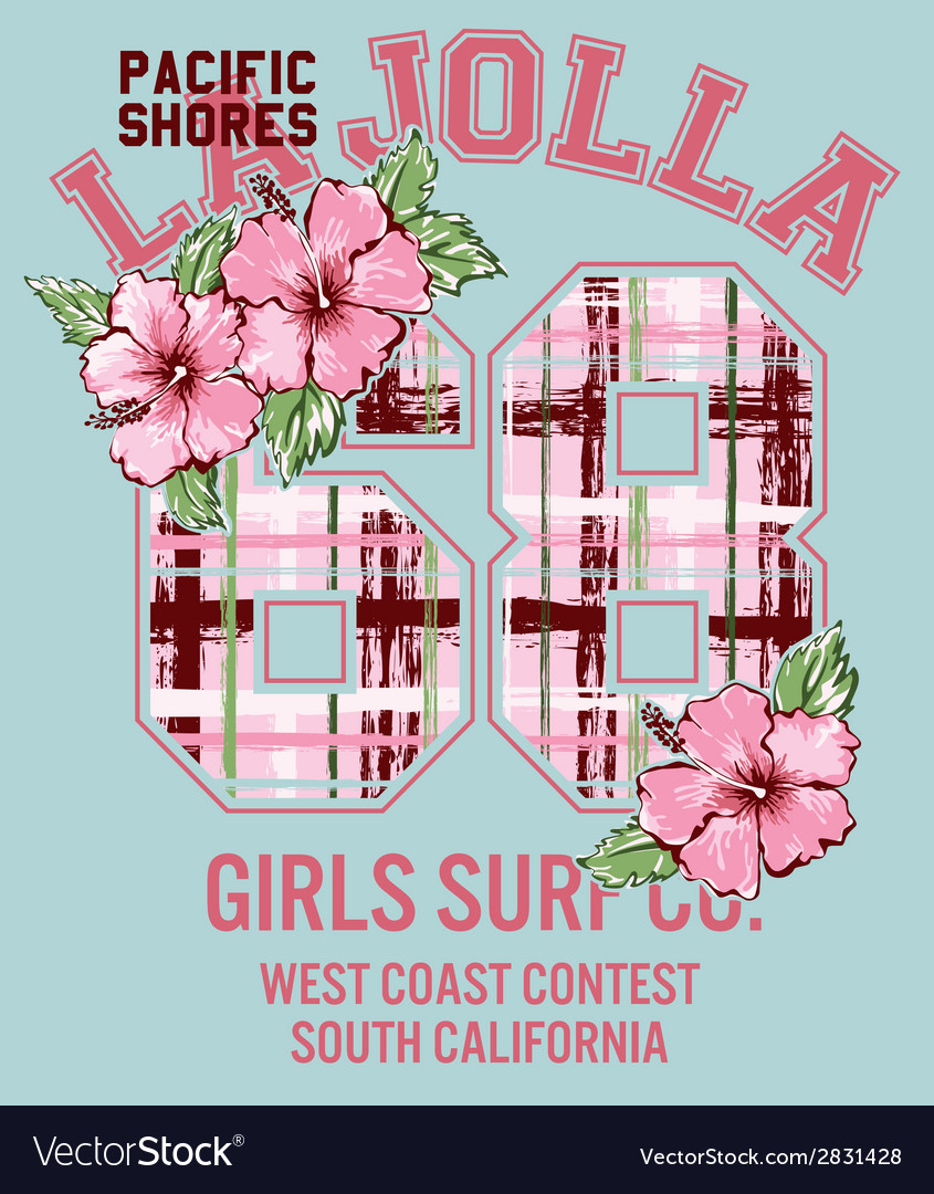 La jolla girl surfing vector | Price: 1 Credit (USD $1)