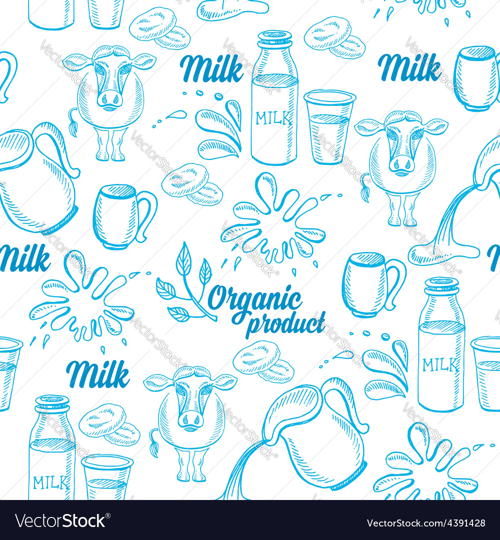 Natural milk with splashes seamless pattern design vector