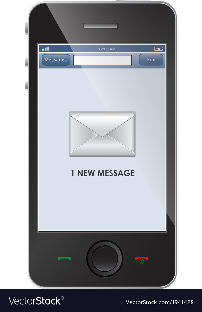 New message icon on smart phone vector | Price: 1 Credit (USD $1)