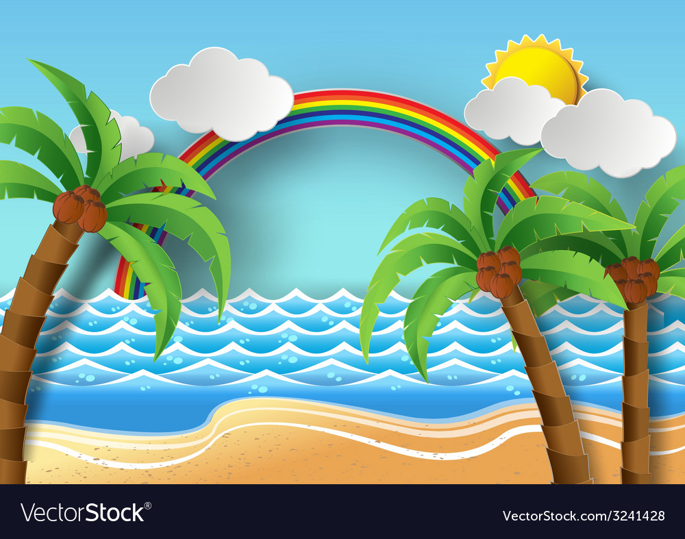 Palm with island and rainbow vector | Price: 1 Credit (USD $1)