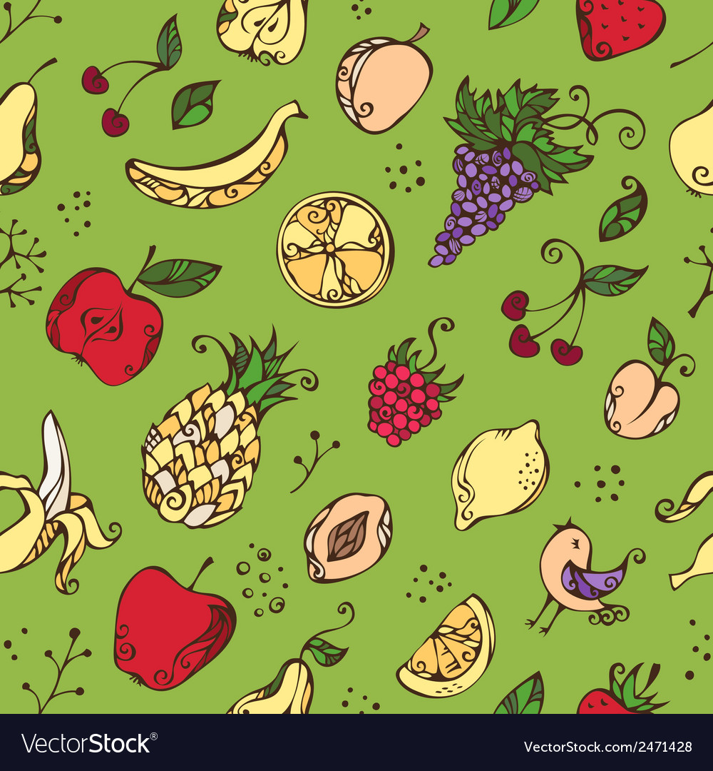 Seamless pattern of various fruits vector | Price: 1 Credit (USD $1)