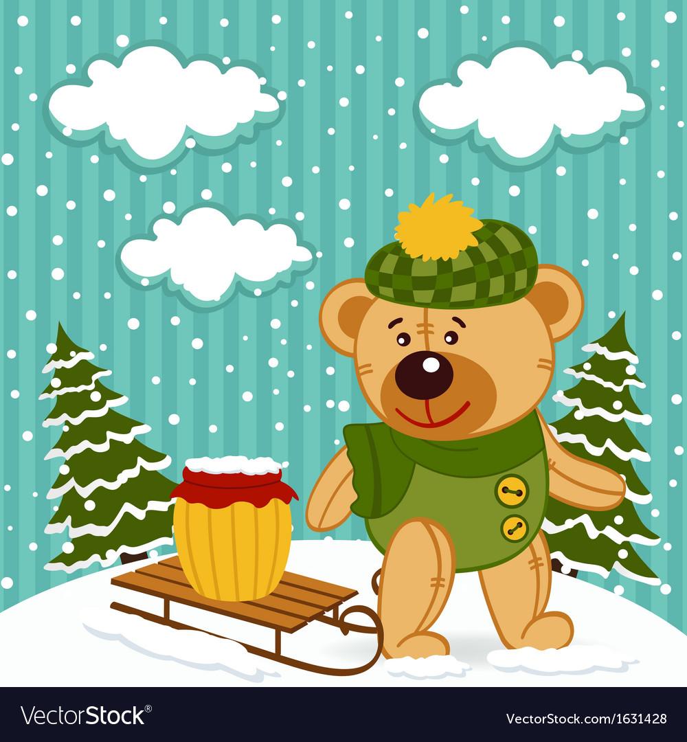 Teddy bear winter vector | Price: 3 Credit (USD $3)