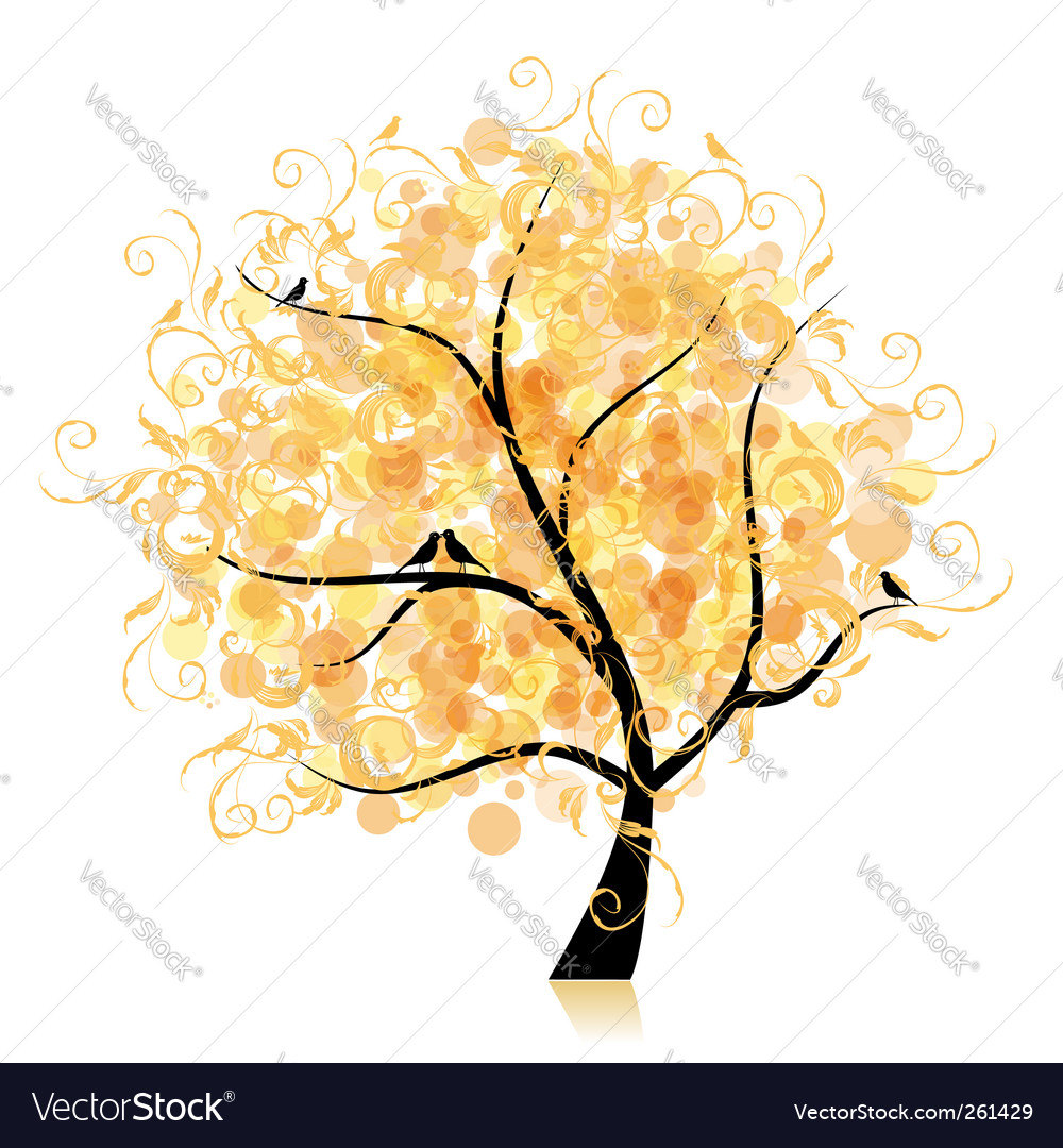 Art tree beautiful golden leaf vector | Price: 1 Credit (USD $1)
