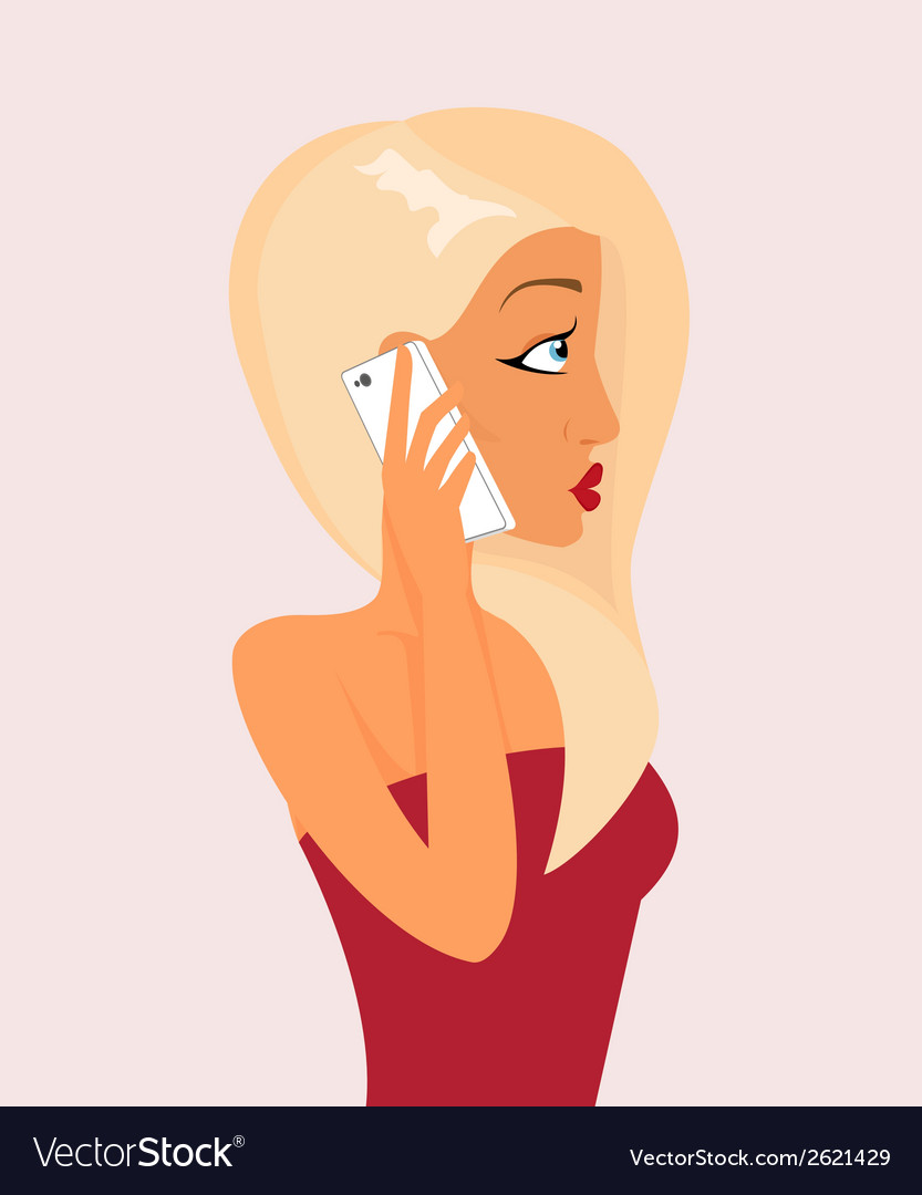 Blond sensual girl is talking via phone vector | Price: 1 Credit (USD $1)