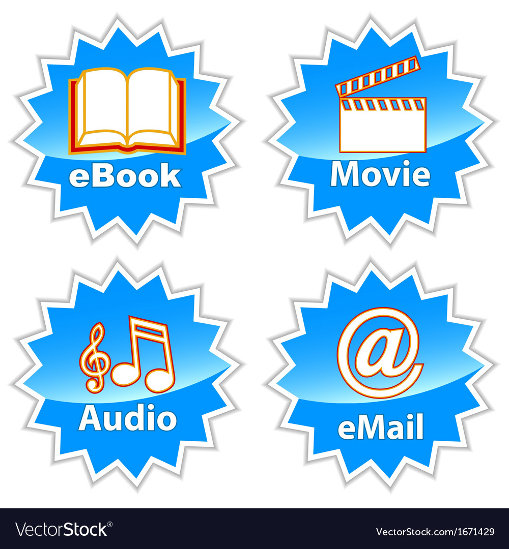 Blue entertainment icons vector | Price: 1 Credit (USD $1)