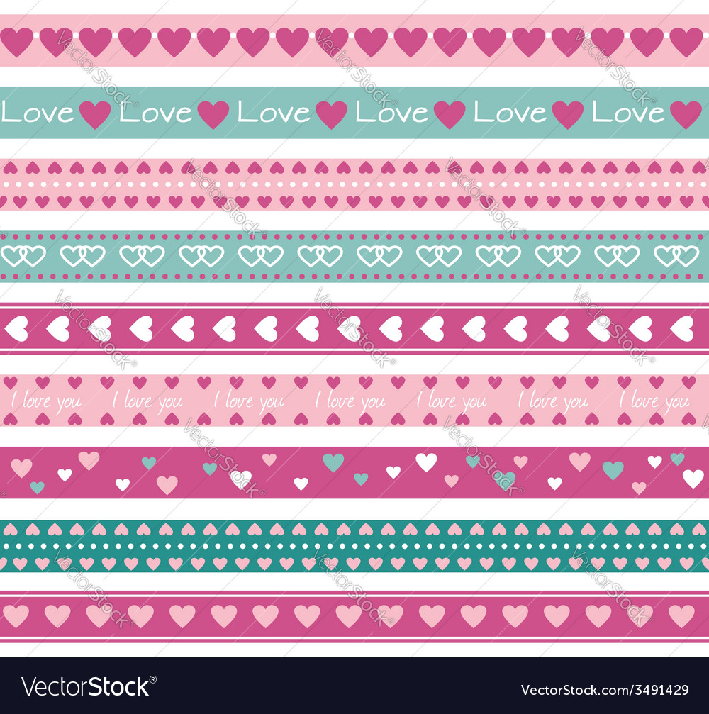 Borders with hearts vector | Price: 1 Credit (USD $1)