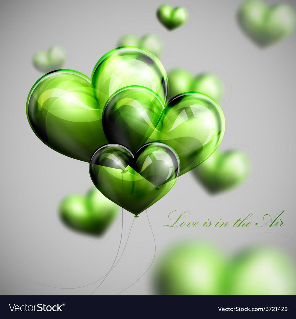 Bunch of green balloon hearts vector | Price: 1 Credit (USD $1)