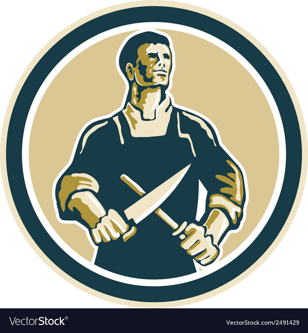 Butcher cutter knife circle retro vector | Price: 1 Credit (USD $1)