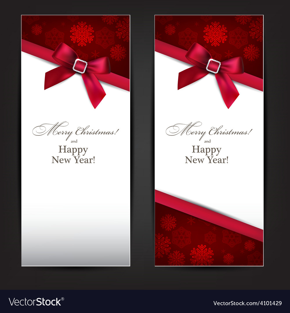Greeting cards with red bow vector | Price: 1 Credit (USD $1)