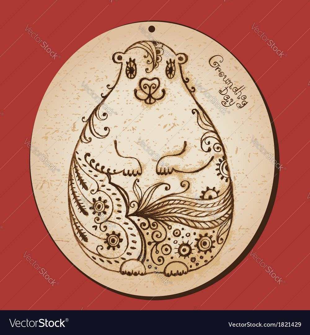 Groundhog day vintage hand drawn card vector | Price: 1 Credit (USD $1)