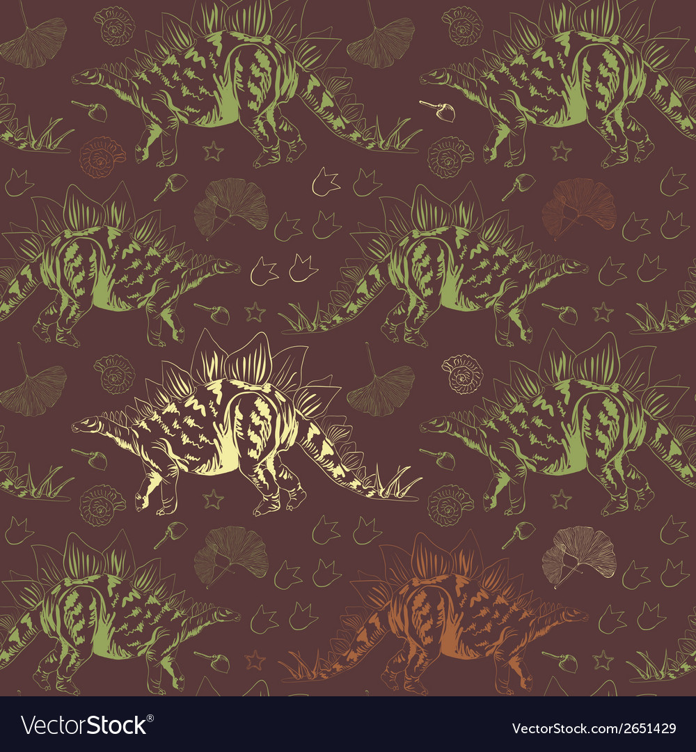Jurassic stegosaurus seamless pattern vector | Price: 1 Credit (USD $1)