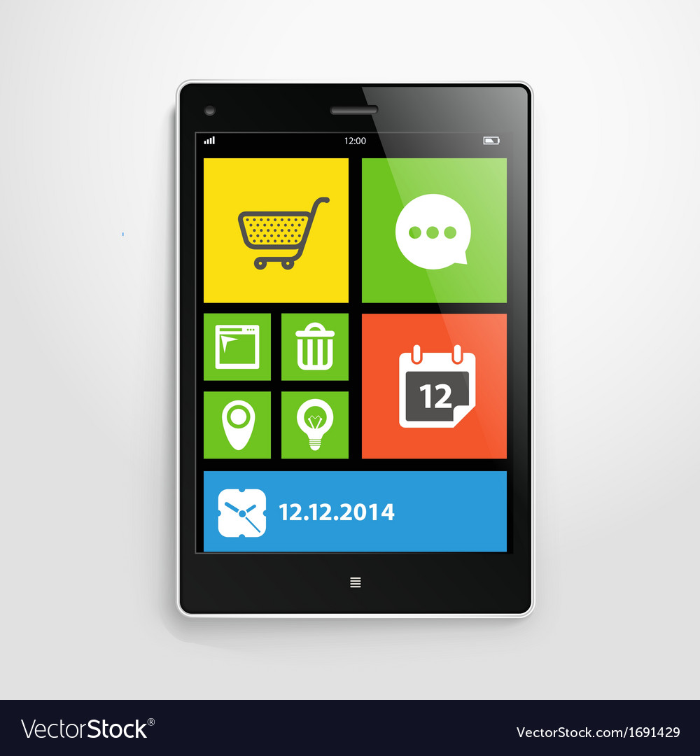 Modern mobile gadget with color interface vector | Price: 1 Credit (USD $1)