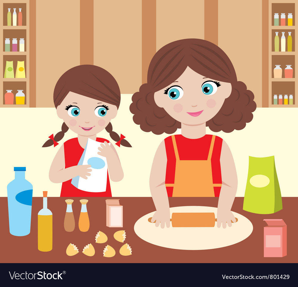 Mother with the daughter baking vector | Price: 3 Credit (USD $3)