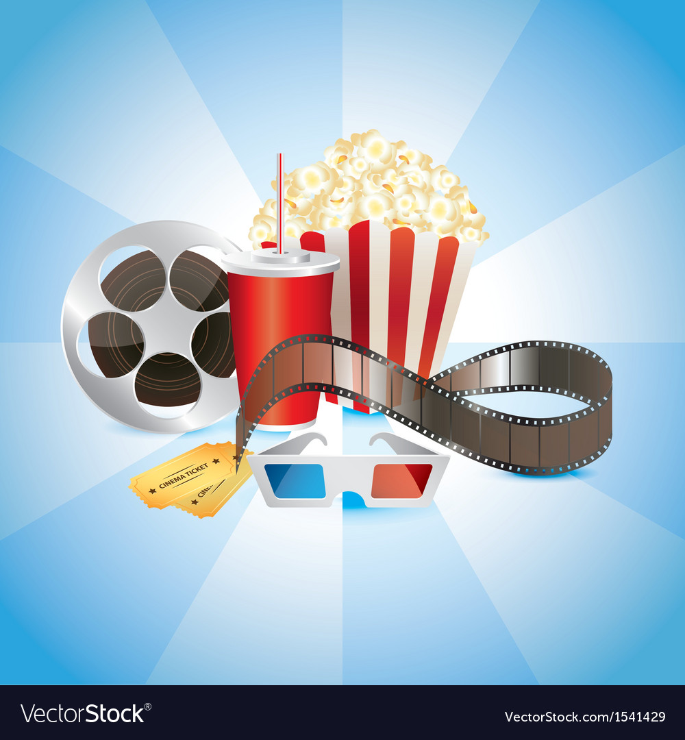Popcorn tickets cinema vector | Price: 3 Credit (USD $3)