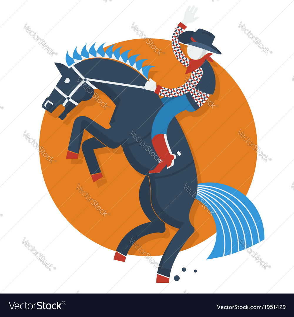 Rodeo postercowboy on horse with text isolated on vector | Price: 1 Credit (USD $1)
