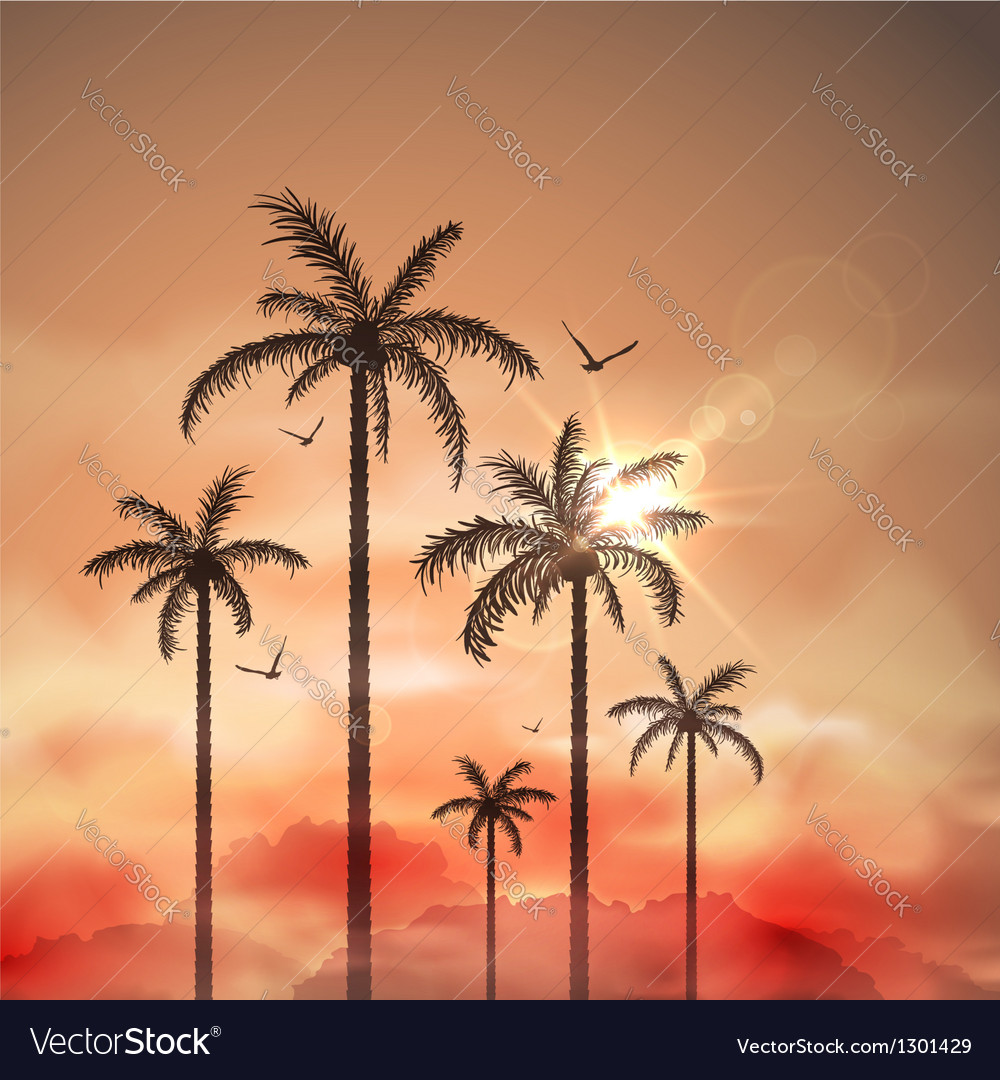Tropical landscape with palm trees vector | Price: 1 Credit (USD $1)