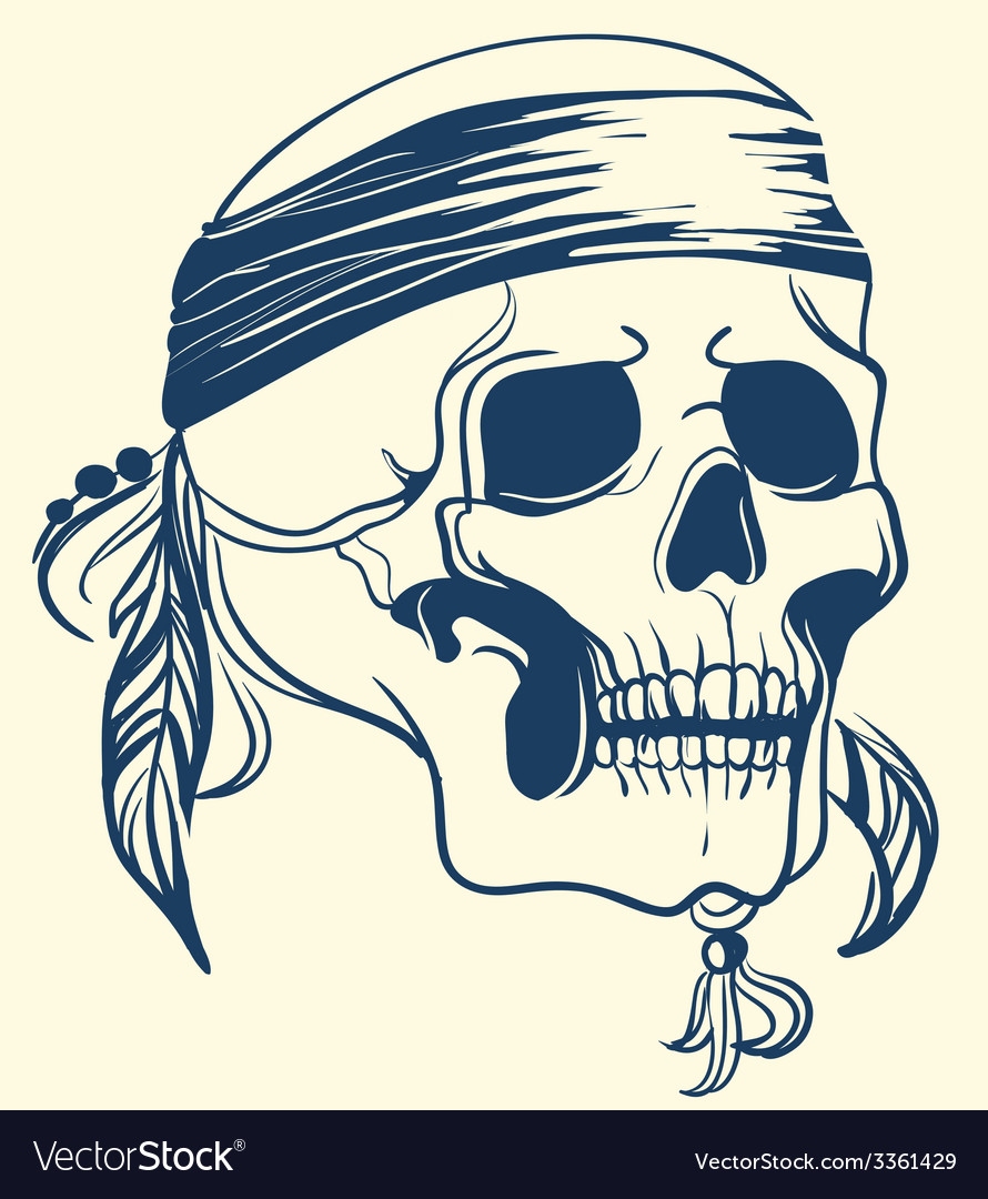 Vintage skull with feathers vector | Price: 1 Credit (USD $1)