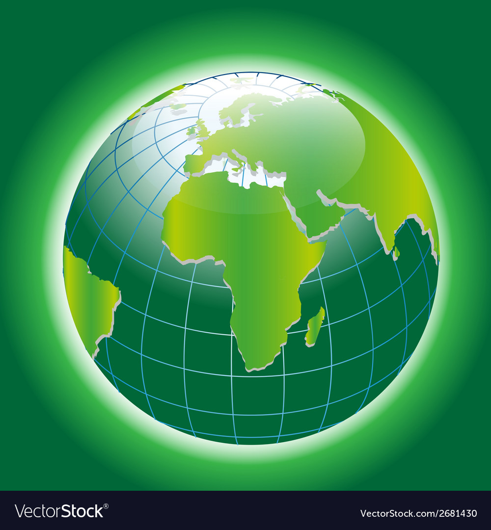 Background with green globe icon vector | Price: 1 Credit (USD $1)