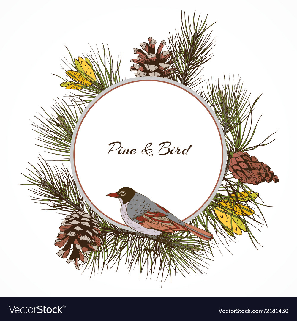 Bird pine branch label vector | Price: 1 Credit (USD $1)