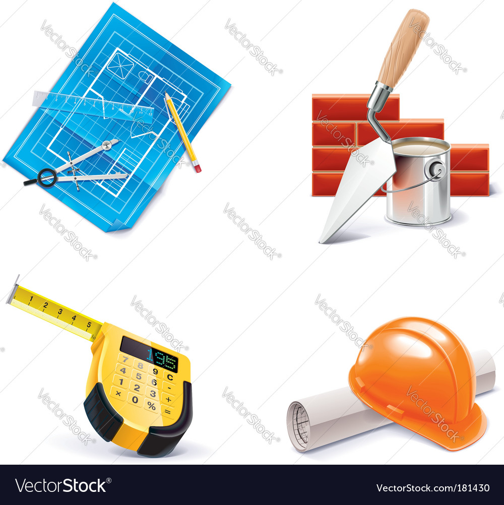Building renovating icon set vector | Price: 3 Credit (USD $3)