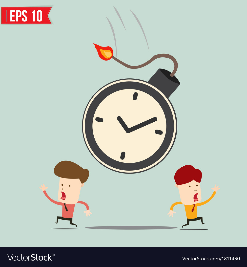 Businessman run away from time bomb vector | Price: 1 Credit (USD $1)