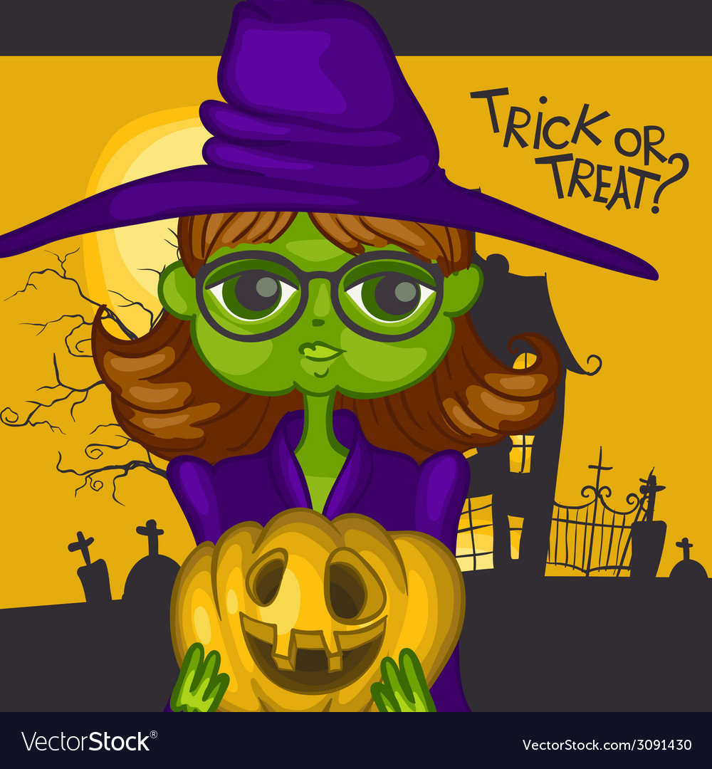 Cartoon witch girl with pumpkins vector | Price: 1 Credit (USD $1)