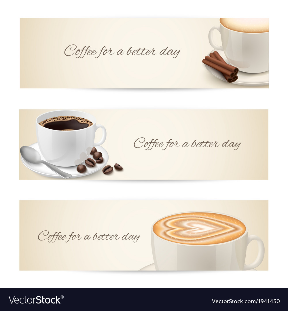 Collection of banners with coffee cups vector | Price: 1 Credit (USD $1)