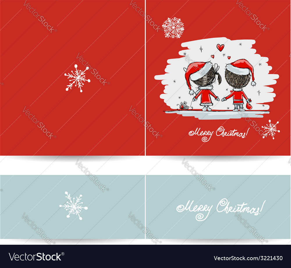 Couple in love together christmas card for your vector | Price: 1 Credit (USD $1)