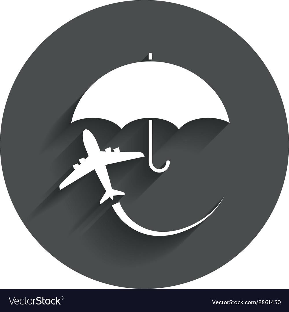 Flight insurance sign icon safe travel symbol vector | Price: 1 Credit (USD $1)
