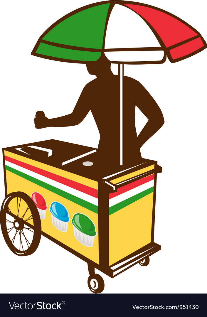 Italian ice push cart retro vector | Price: 1 Credit (USD $1)