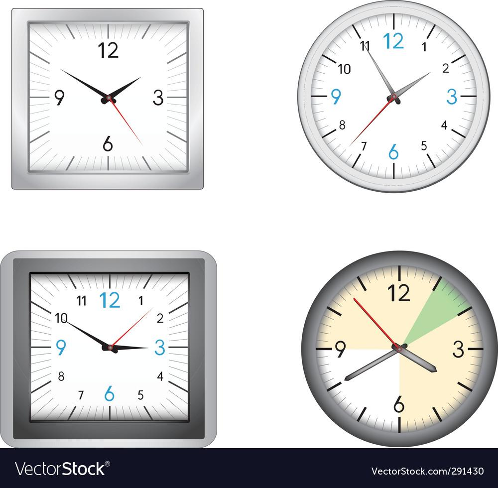 Office clocks vector | Price: 1 Credit (USD $1)