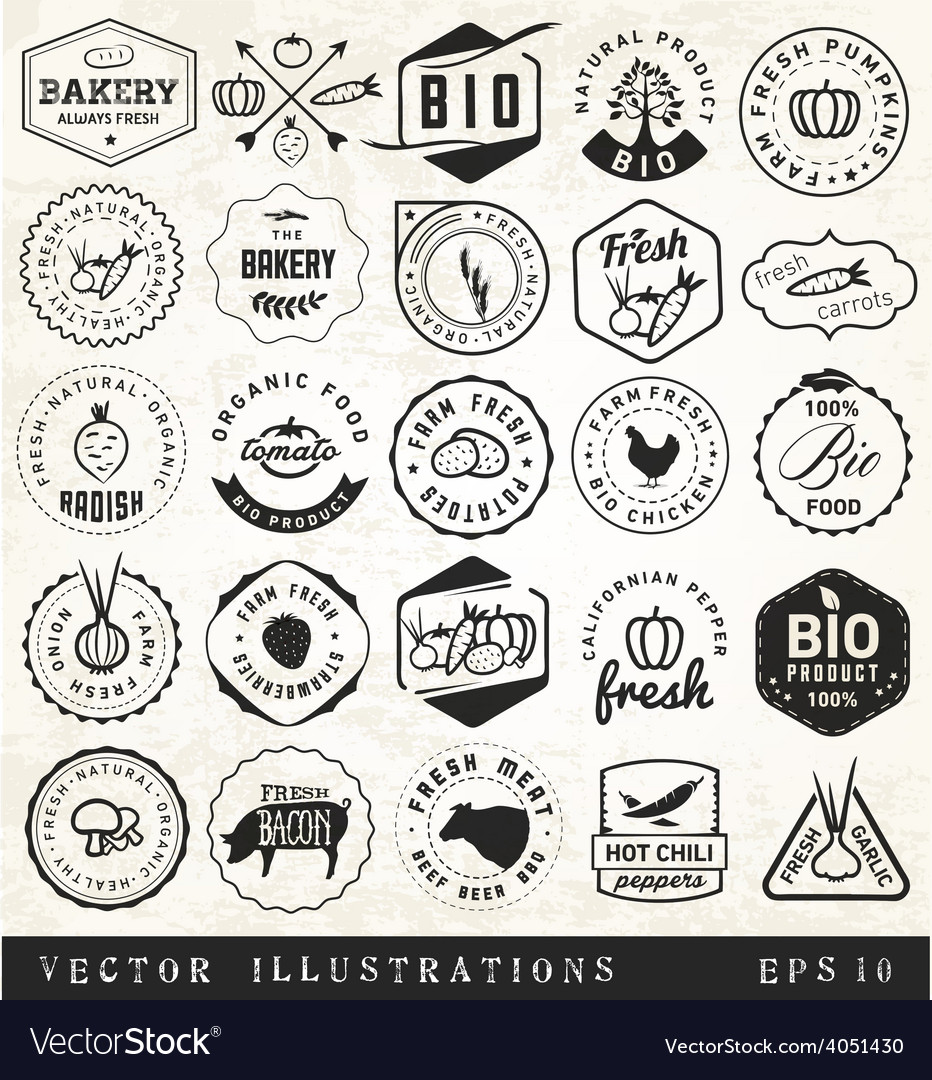 Organic and bio vegetables badges vector | Price: 1 Credit (USD $1)