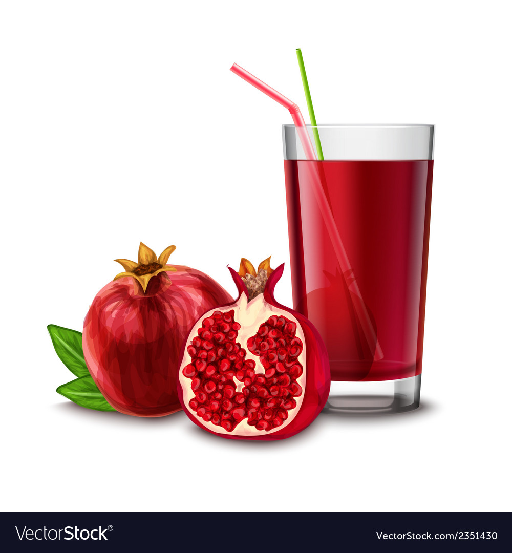 Pomegranate juice glass vector | Price: 1 Credit (USD $1)