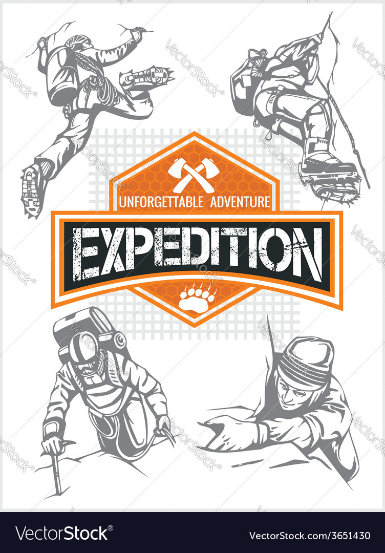 Rock climbing expedition set - expeditions emblem vector | Price: 1 Credit (USD $1)
