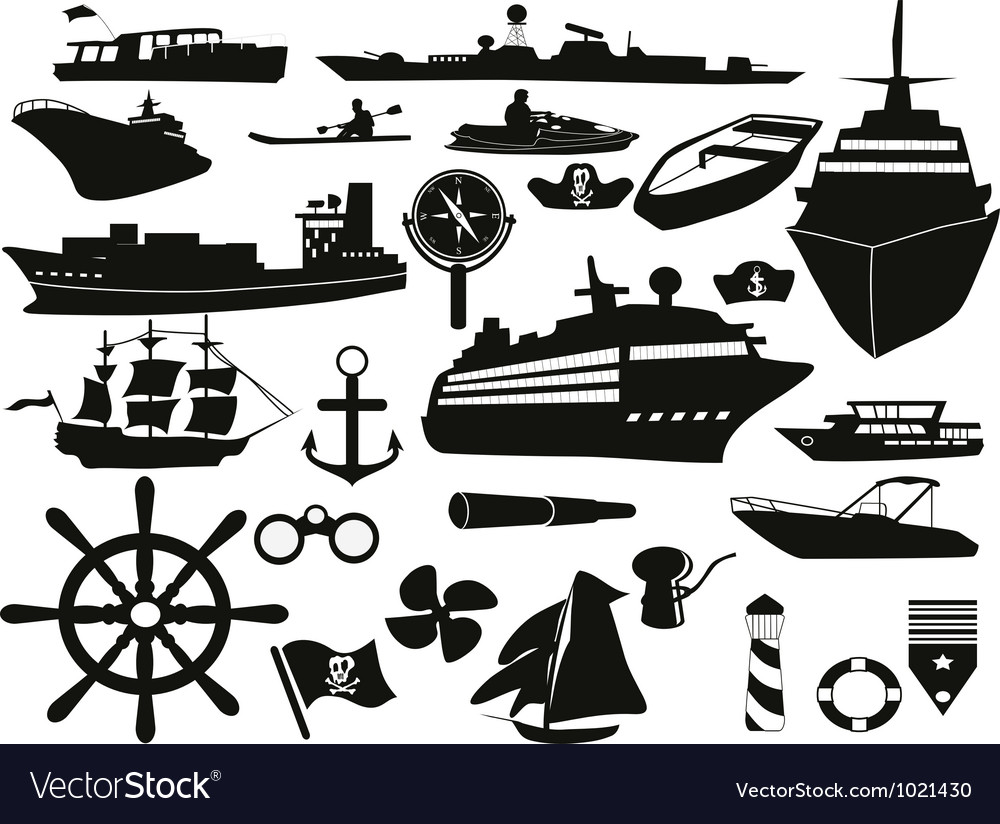 Sailing objects icon set vector | Price: 1 Credit (USD $1)